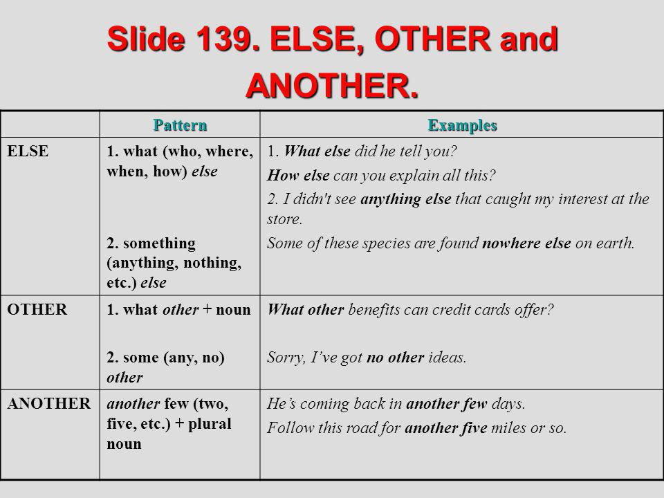 Slide 139. ELSE, OTHER and ANOTHER.