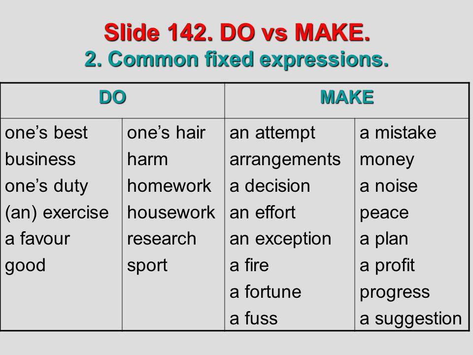 Slide 142. DO vs MAKE. 2. Common fixed expressions.