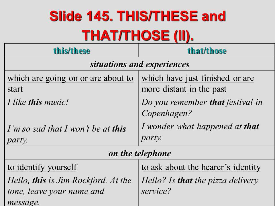 Slide 145. THIS/THESE and THAT/THOSE (II).