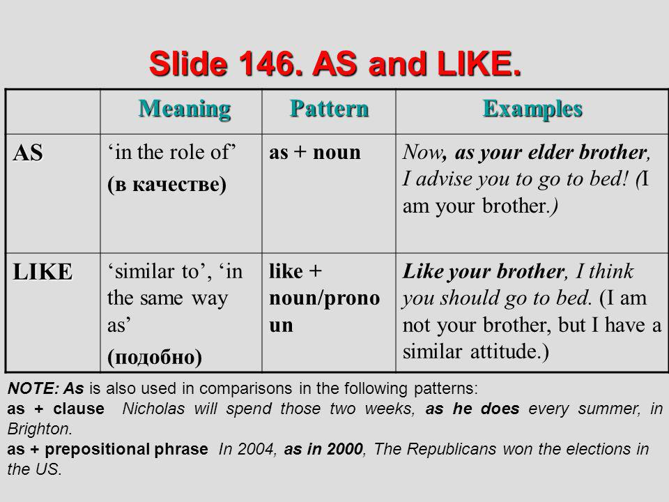 Slide 146. AS and LIKE. Meaning Pattern Examples AS LIKE