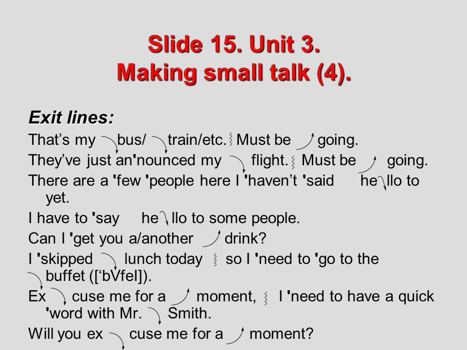 Slide 15. Unit 3. Making small talk (4).
