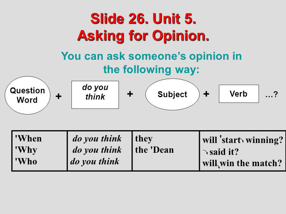 Slide 26. Unit 5. Asking for Opinion.