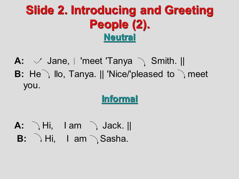 Slide 2. Introducing and Greeting People (2). Neutral