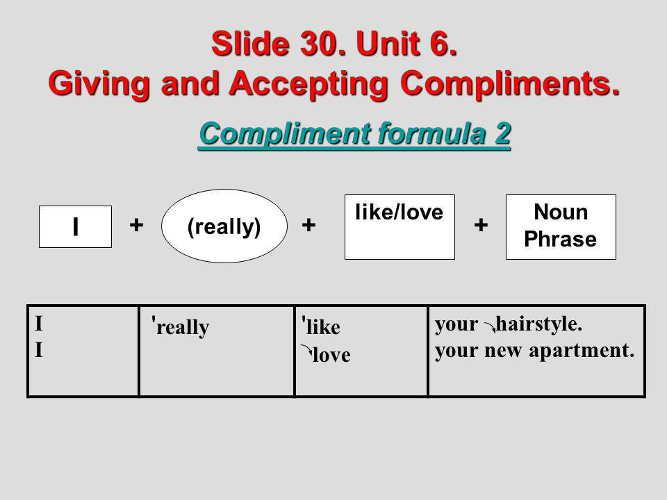 Slide 30. Unit 6. Giving and Accepting Compliments.