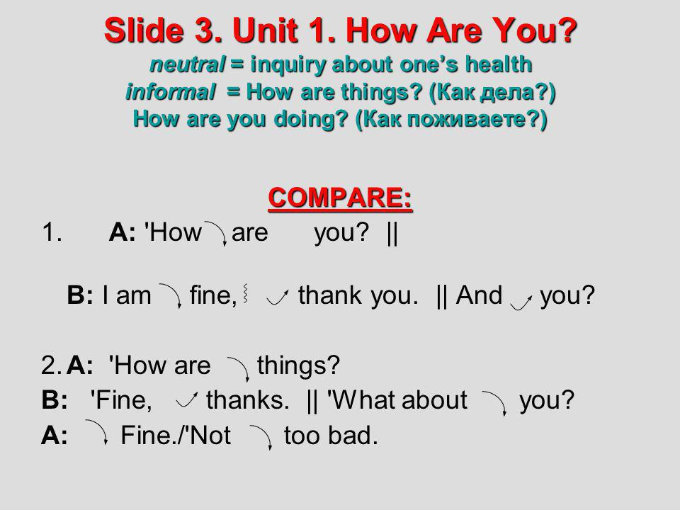Slide 3. Unit 1. How Are You neutral = inquiry about one's health informal = How are things (Как дела ) How are you doing (Как поживаете )
