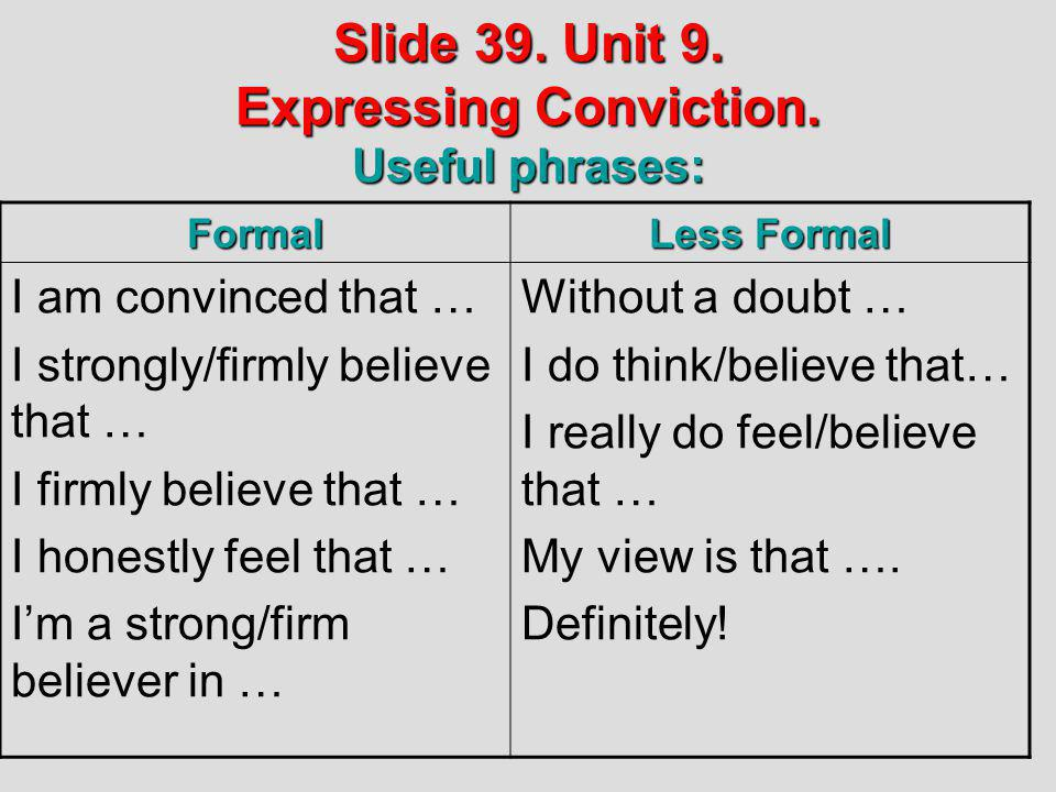 Slide 39. Unit 9. Expressing Conviction. Useful phrases: