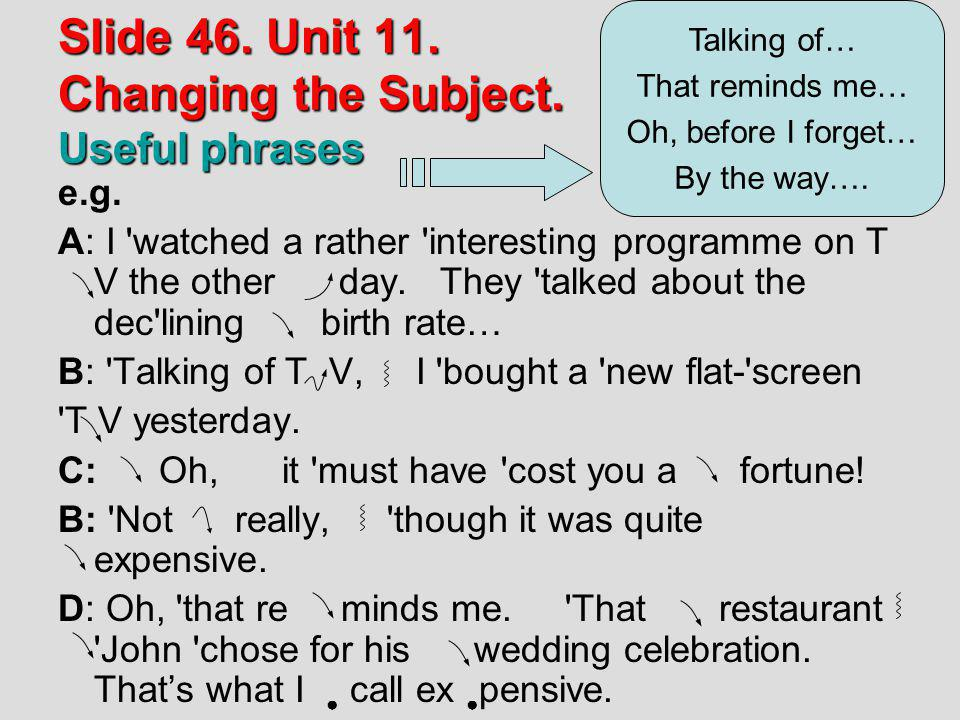 Slide 46. Unit 11. Changing the Subject. Useful phrases