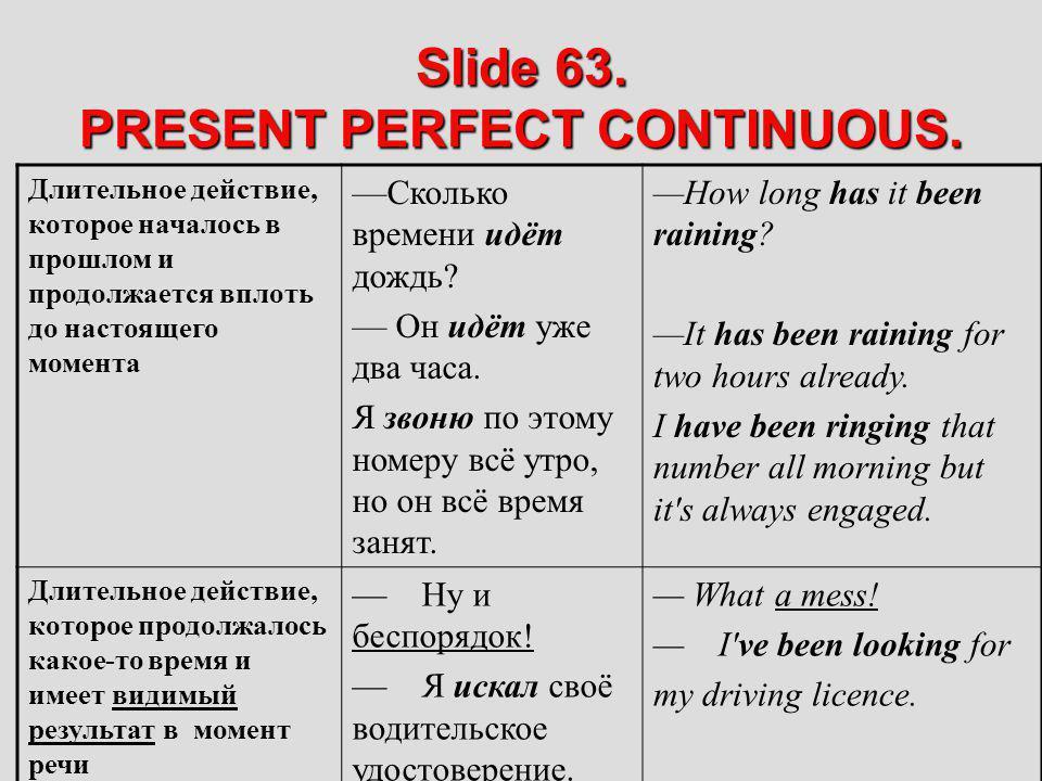 Slide 63. PRESENT PERFECT CONTINUOUS.
