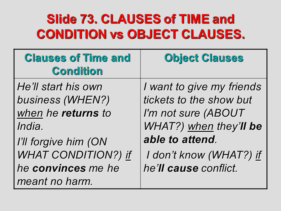 Slide 73. CLAUSES of TIME and CONDITION vs OBJECT CLAUSES.