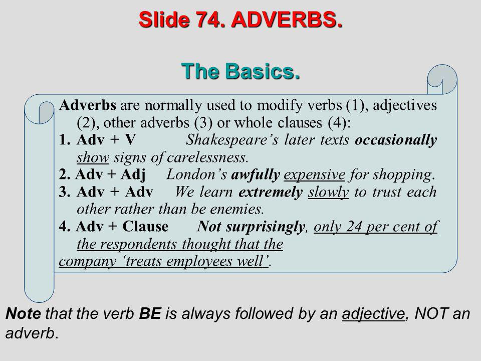 Slide 74. ADVERBS. The Basics.
