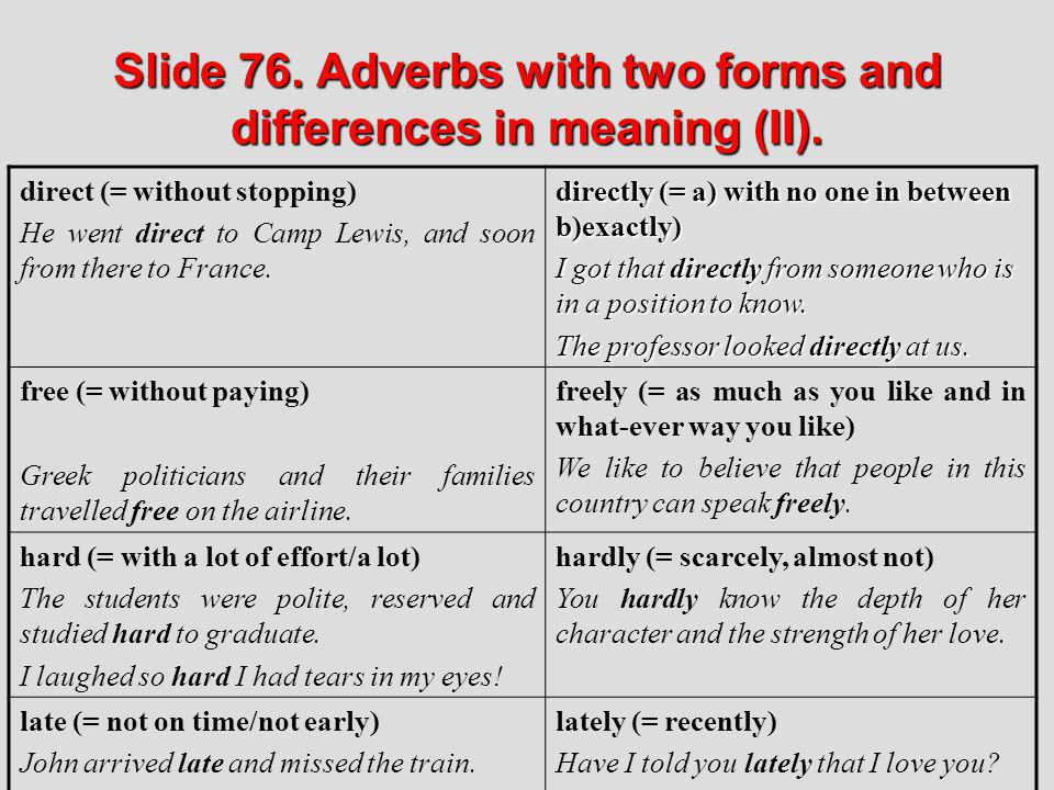 Slide 76. Adverbs with two forms and differences in meaning (II).