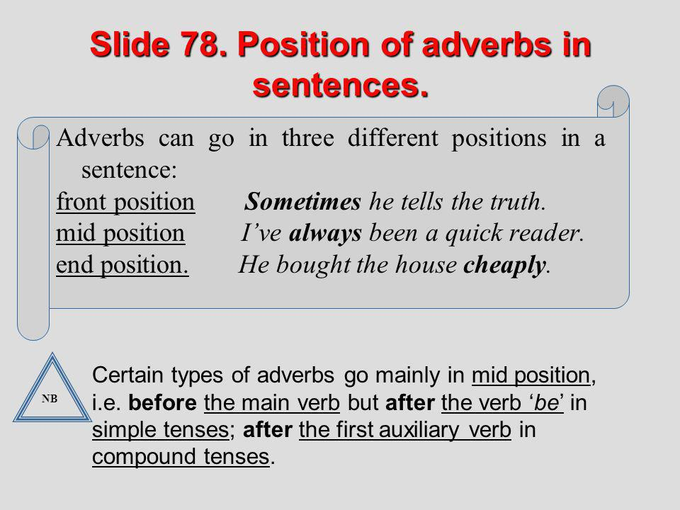 Slide 78. Position of adverbs in sentences.