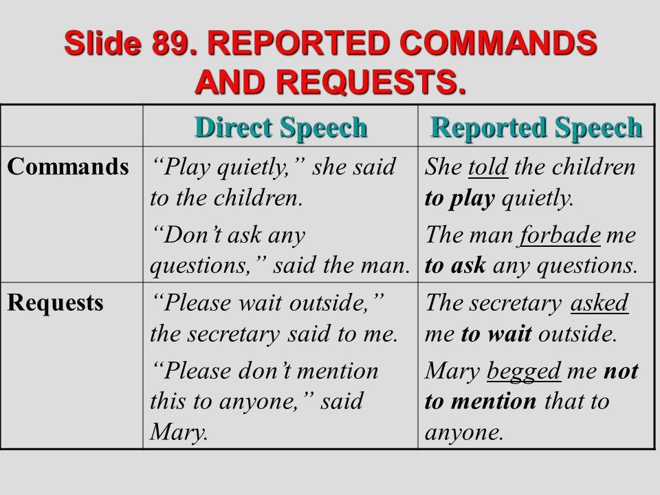 Slide 89. REPORTED COMMANDS AND REQUESTS.