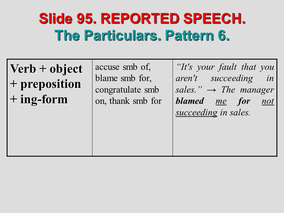 Slide 95. REPORTED SPEECH. The Particulars. Pattern 6.