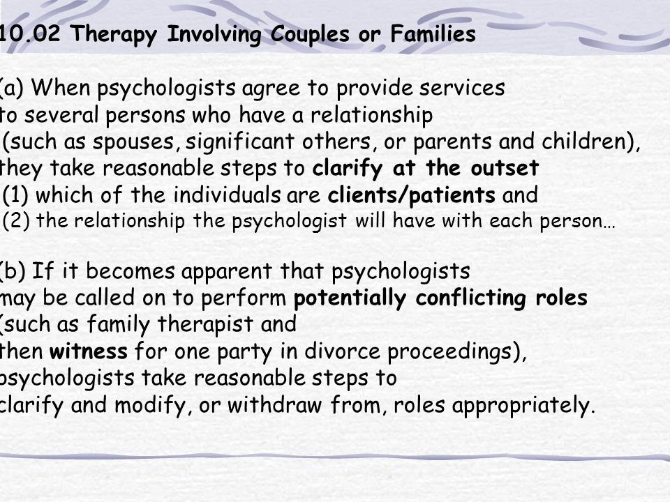 10.02 Therapy Involving Couples or Families
