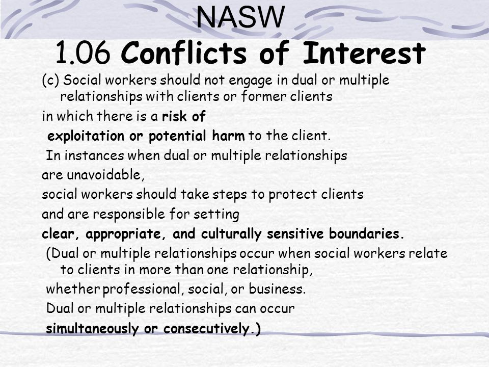 NASW 1.06 Conflicts of Interest