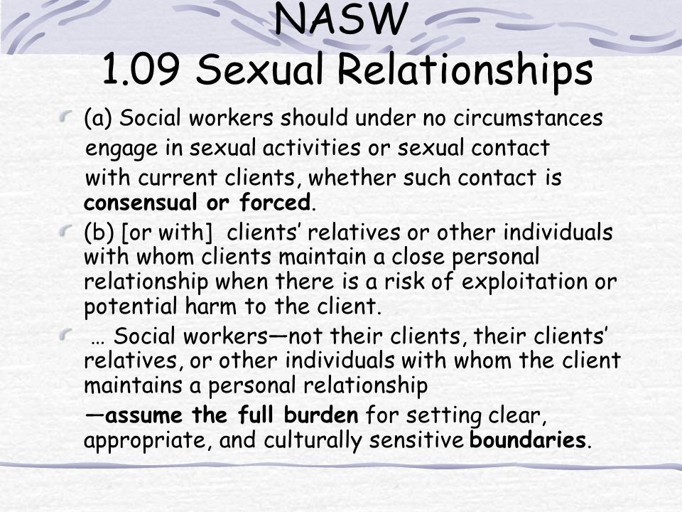NASW 1.09 Sexual Relationships