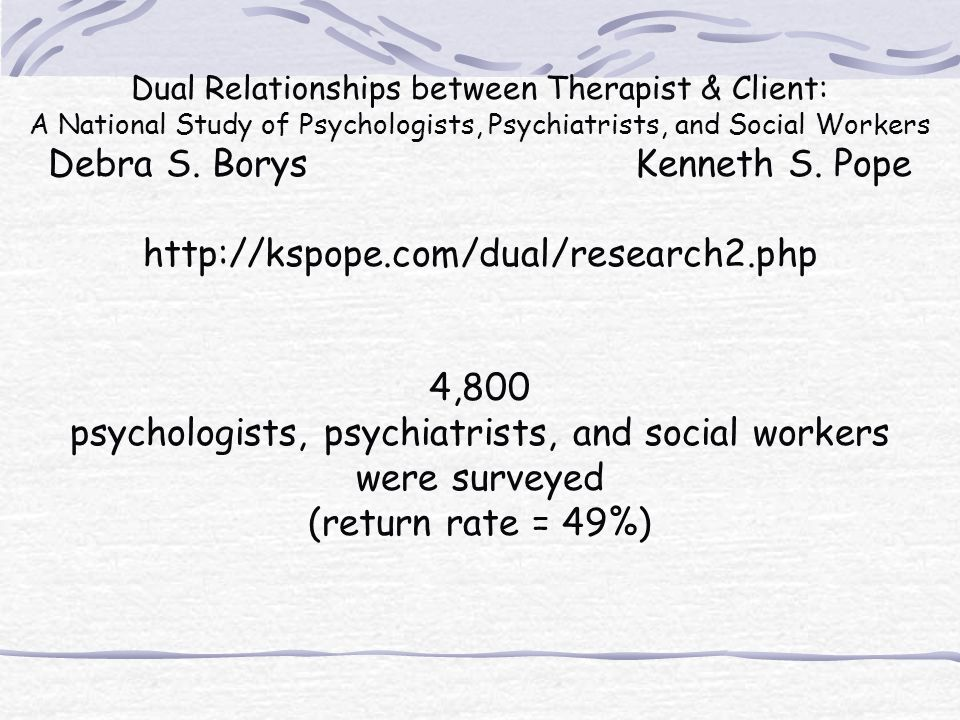 Debra S. Borys Kenneth S. Pope http://kspope.com/dual/research2.php