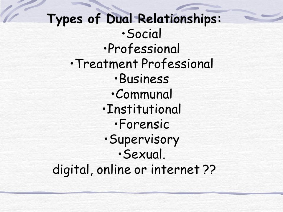 Types of Dual Relationships: Social Professional