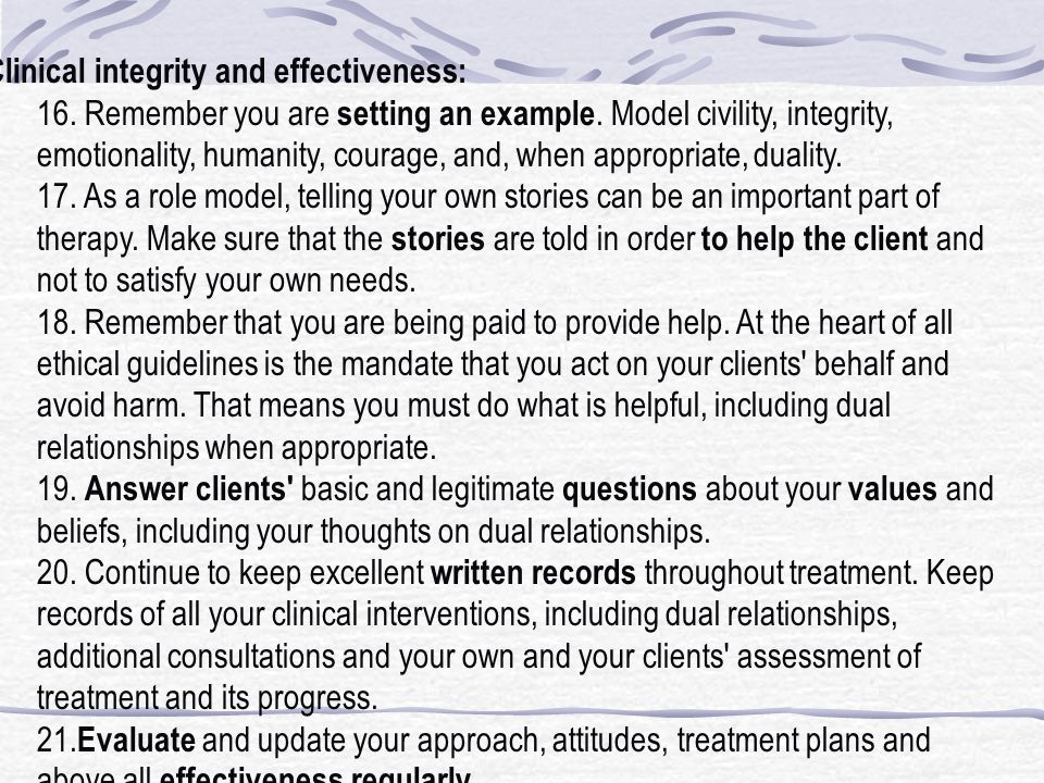 Clinical integrity and effectiveness: