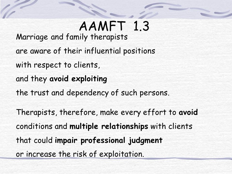 AAMFT 1.3 Marriage and family therapists