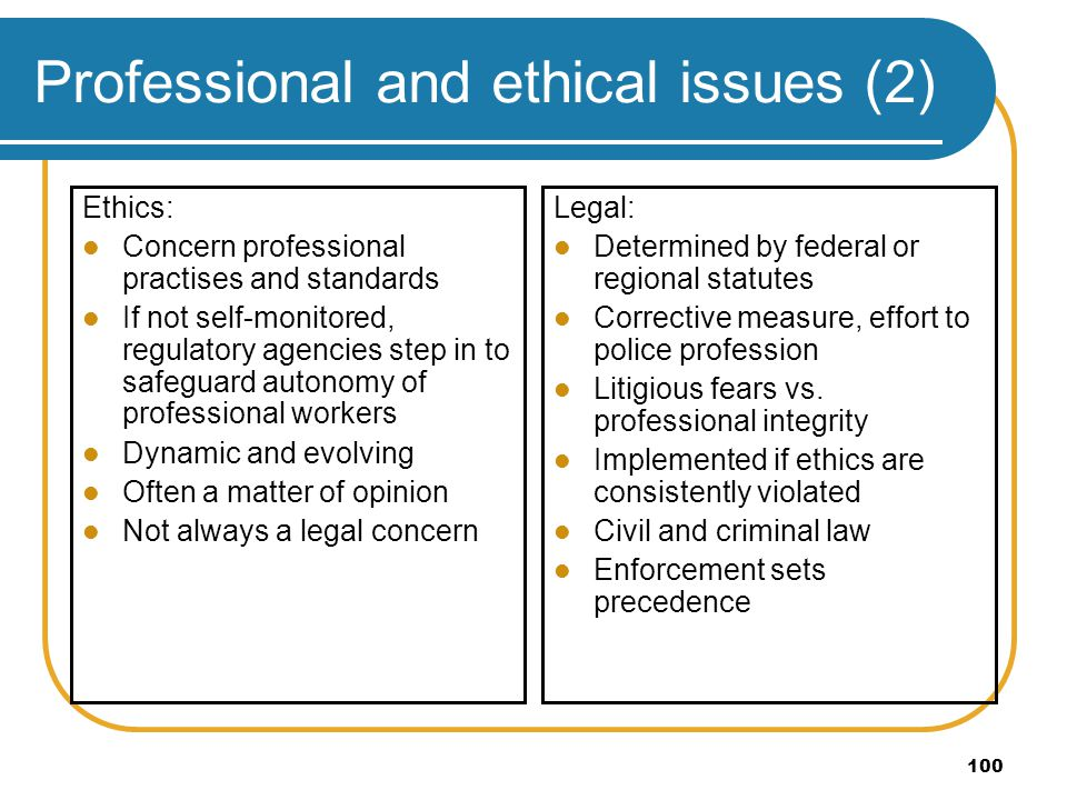 Professional and ethical issues (2)