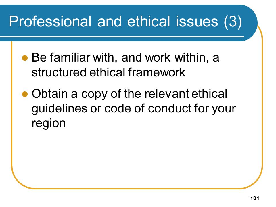 Professional and ethical issues (3)