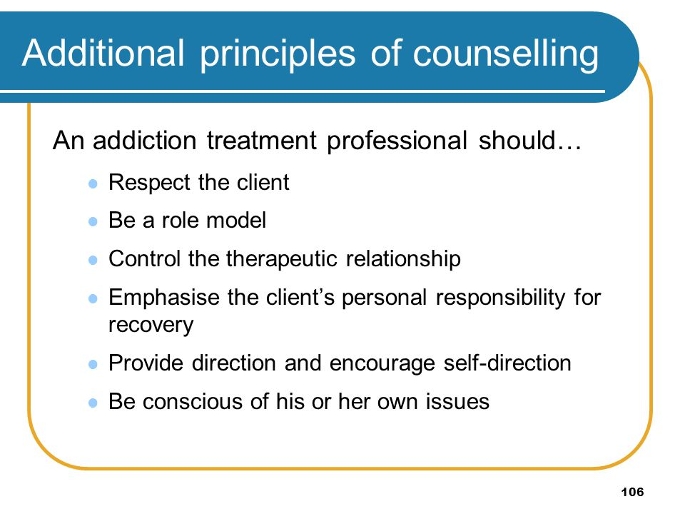 Additional principles of counselling