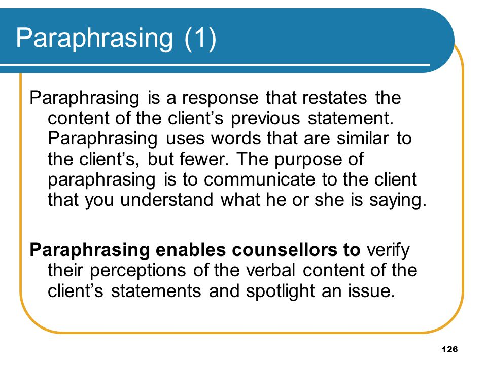 Paraphrasing (1)