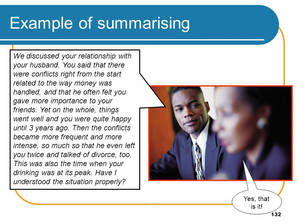 Example of summarising