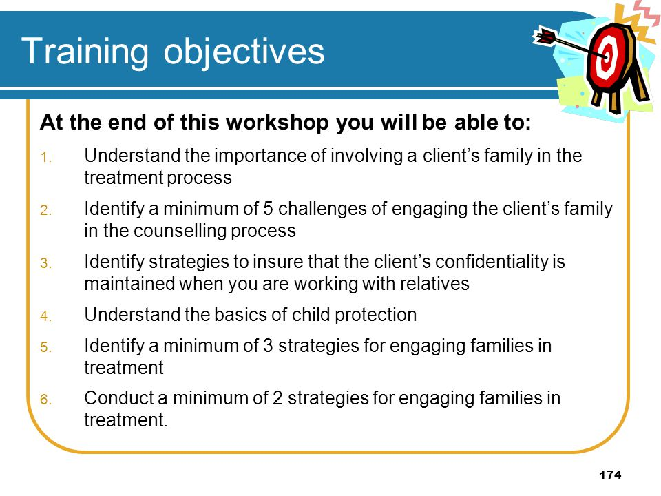 Training objectives At the end of this workshop you will be able to: