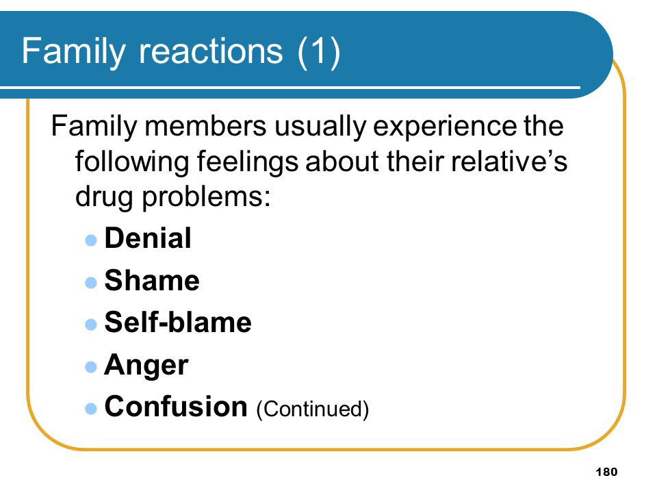 Family reactions (1) Family members usually experience the following feelings about their relative's drug problems:
