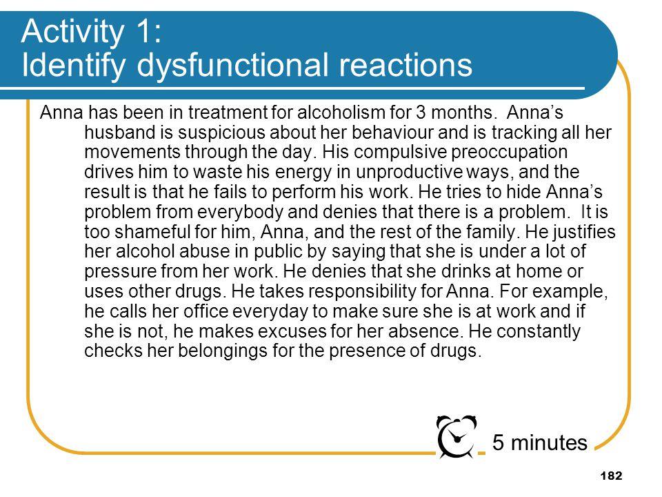 Activity 1: Identify dysfunctional reactions