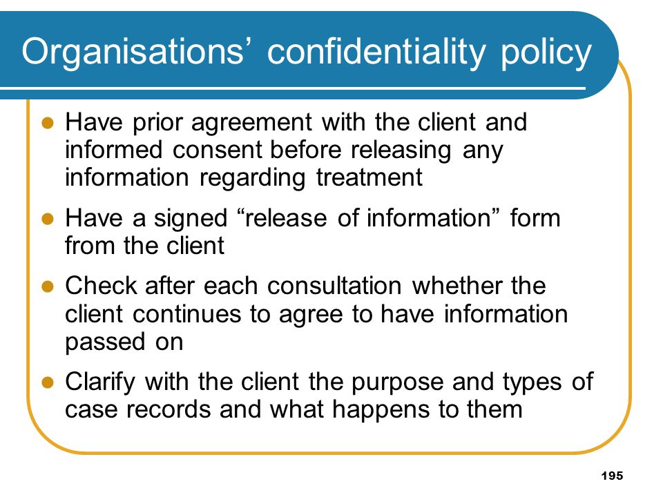 Organisations' confidentiality policy