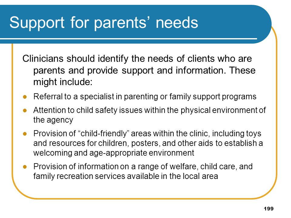 Support for parents' needs