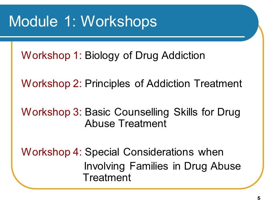 Module 1: Workshops Workshop 1: Biology of Drug Addiction