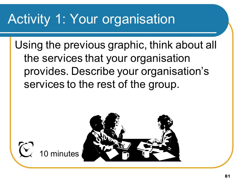 Activity 1: Your organisation