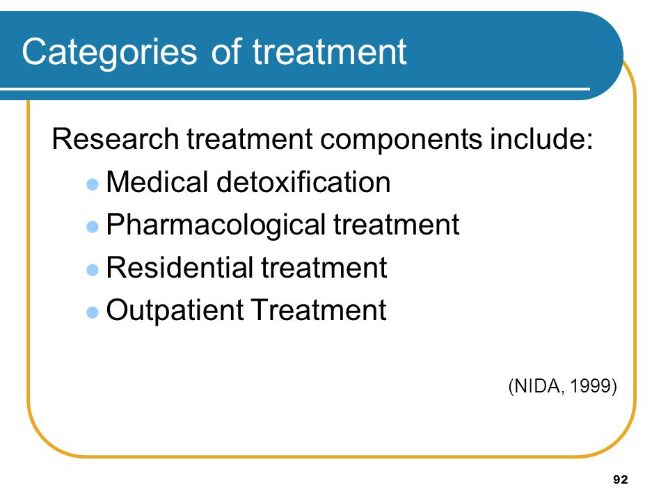 Categories of treatment