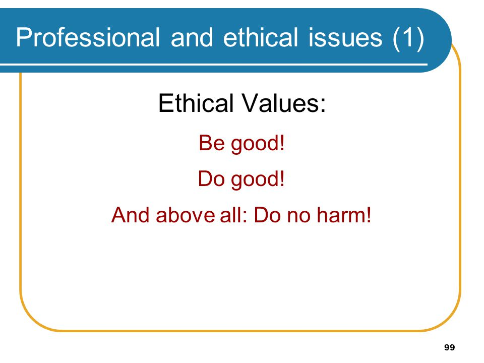 Professional and ethical issues (1)