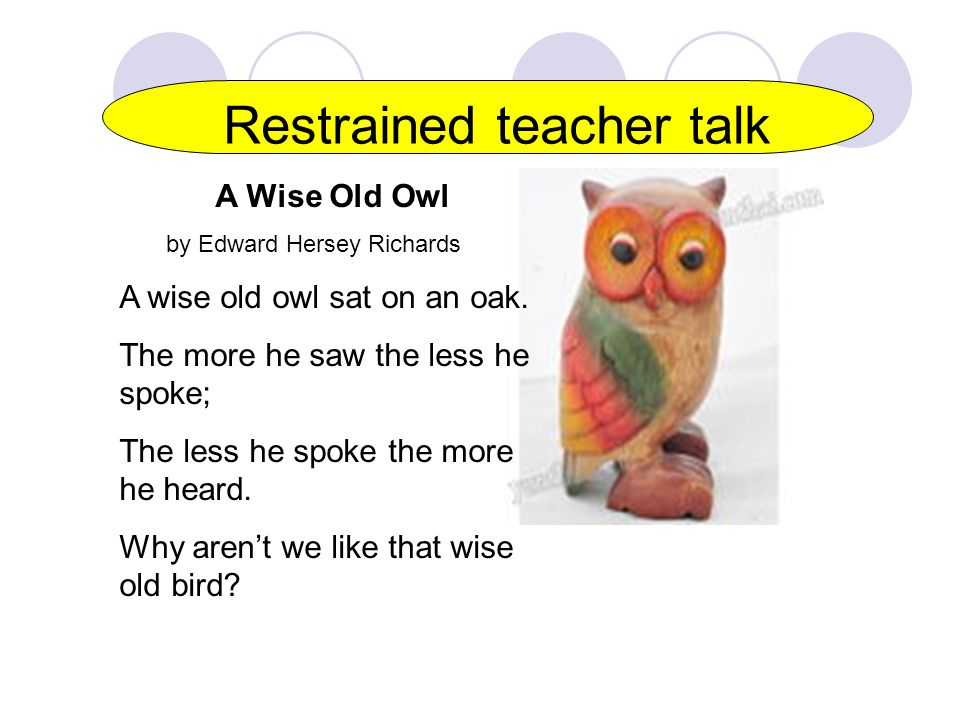 Restrained teacher talk