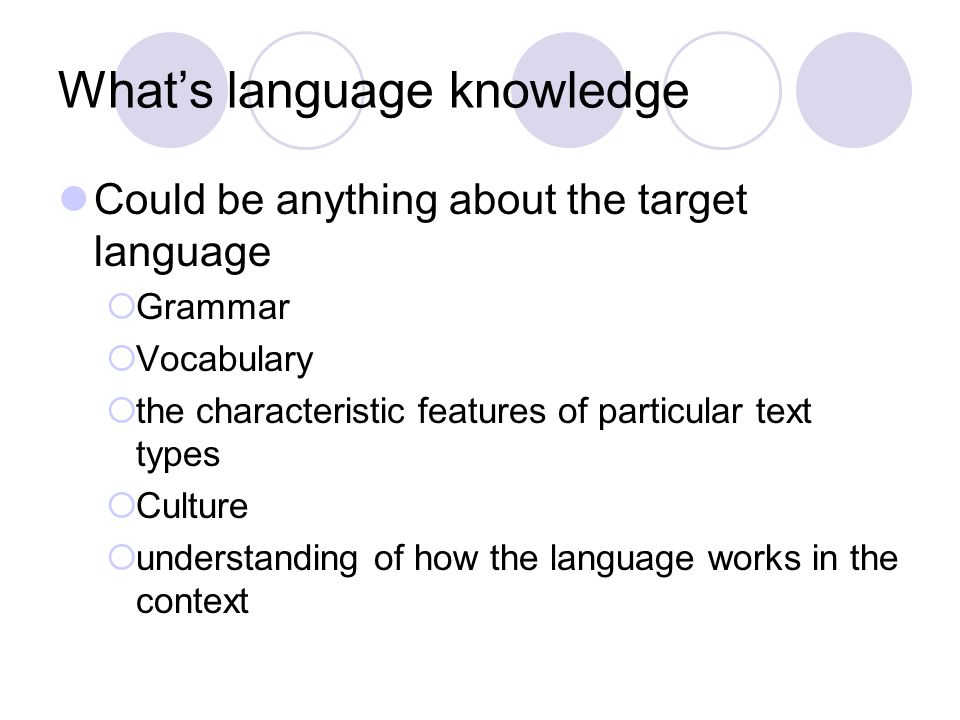 What's language knowledge