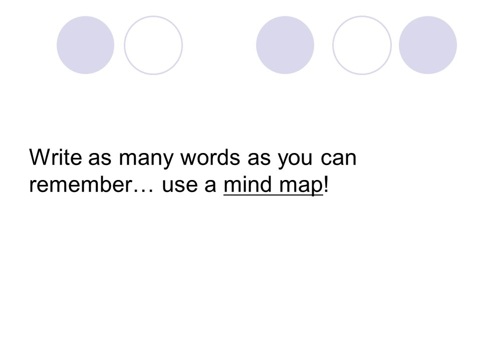 Write as many words as you can remember… use a mind map!