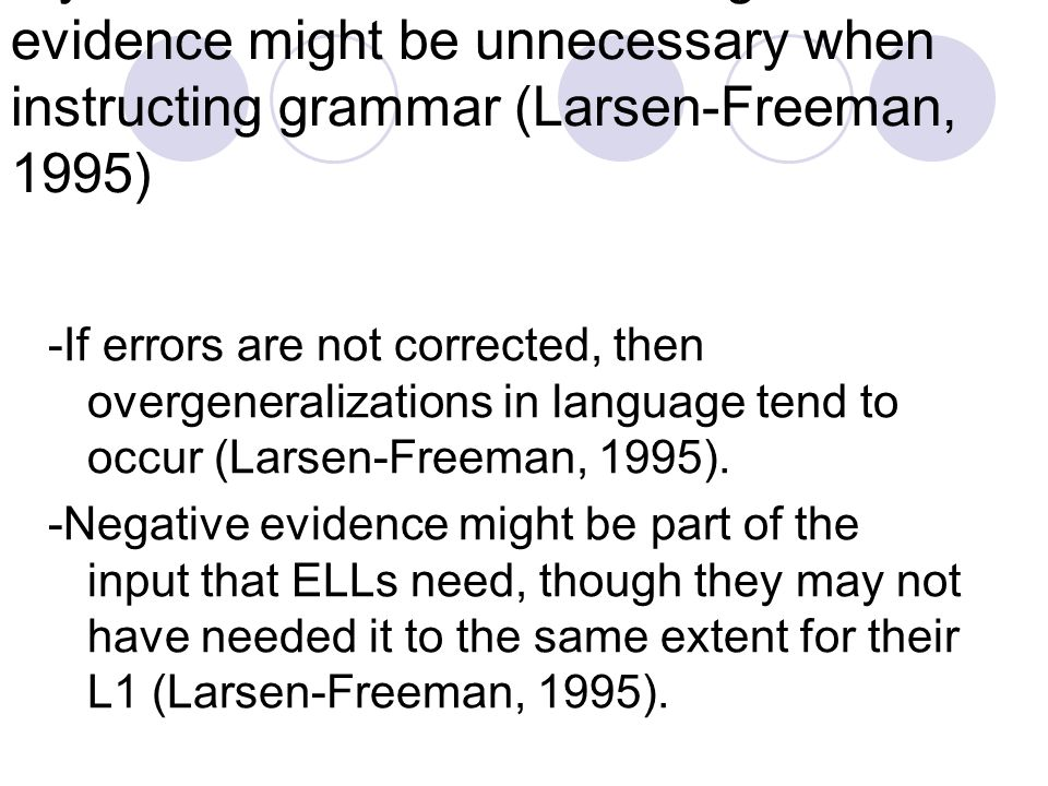Myth: Error correction and negative evidence might be unnecessary when instructing grammar (Larsen-Freeman, 1995)