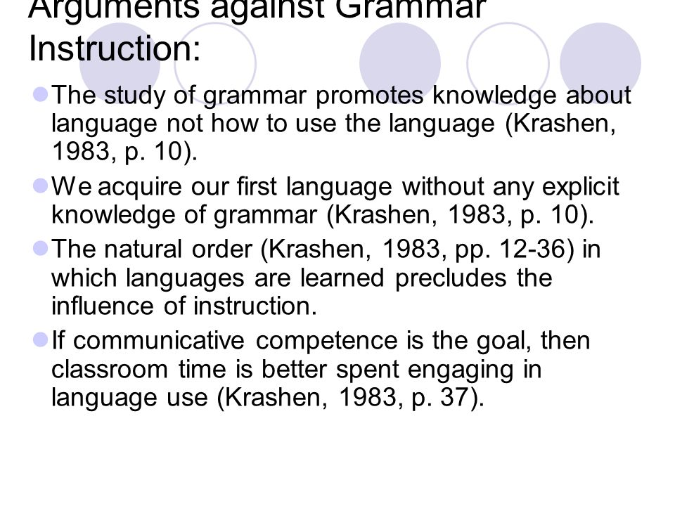 Arguments against Grammar Instruction: