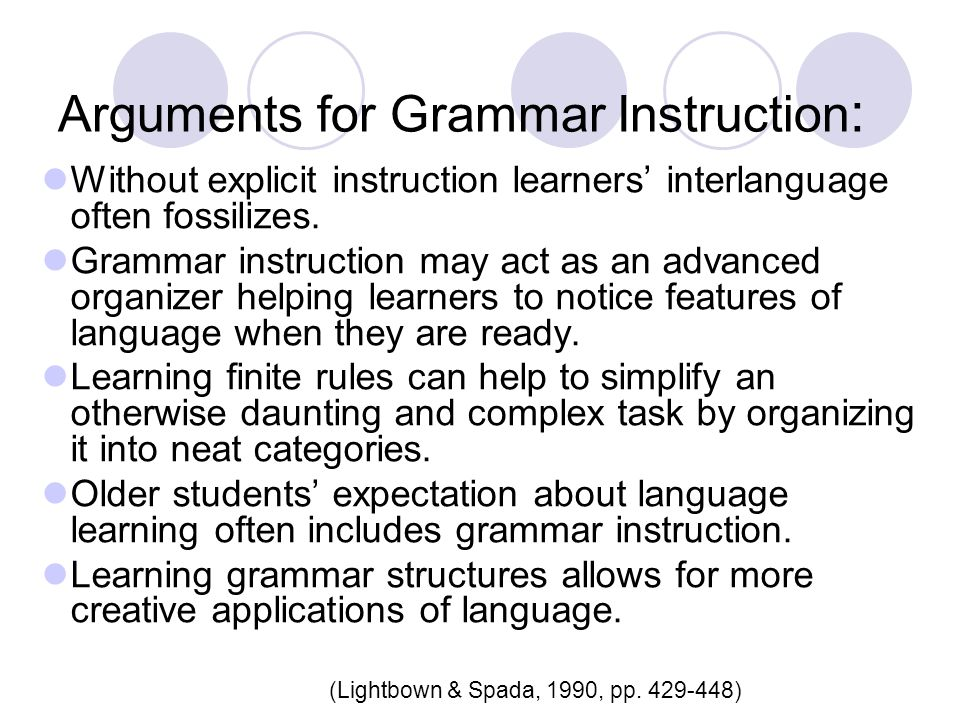 Arguments for Grammar Instruction: