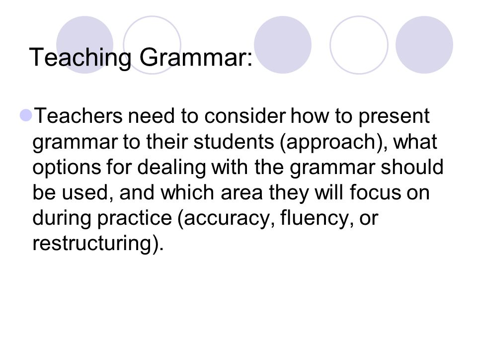 Teaching Grammar:
