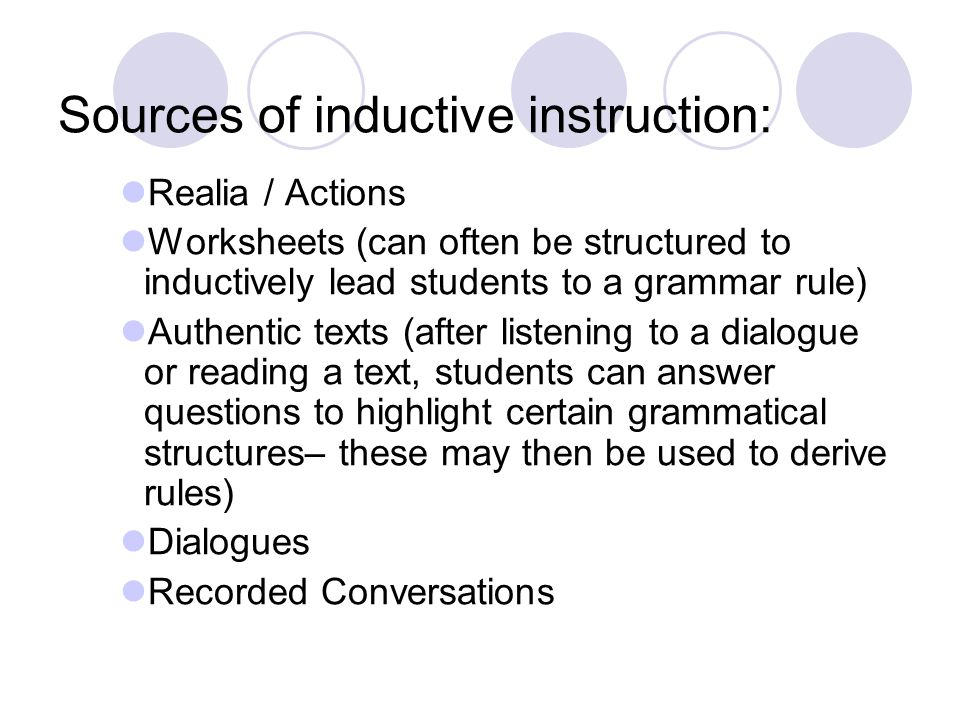 Sources of inductive instruction: