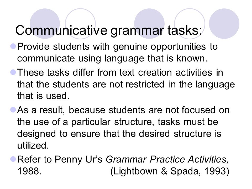 Communicative grammar tasks:
