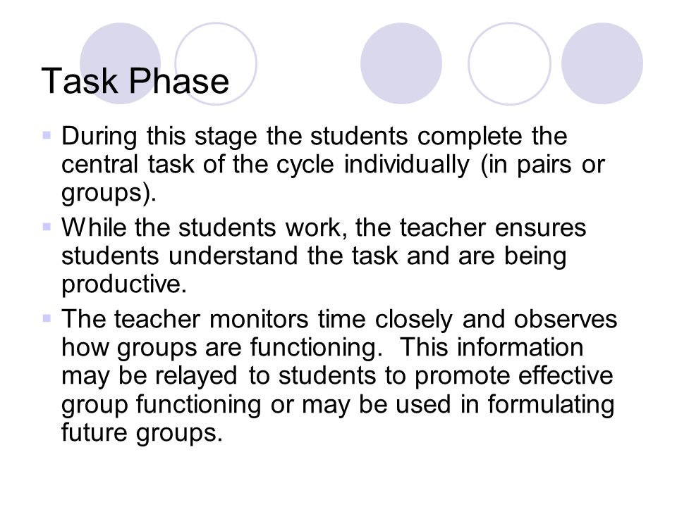 Task Phase During this stage the students complete the central task of the cycle individually (in pairs or groups).