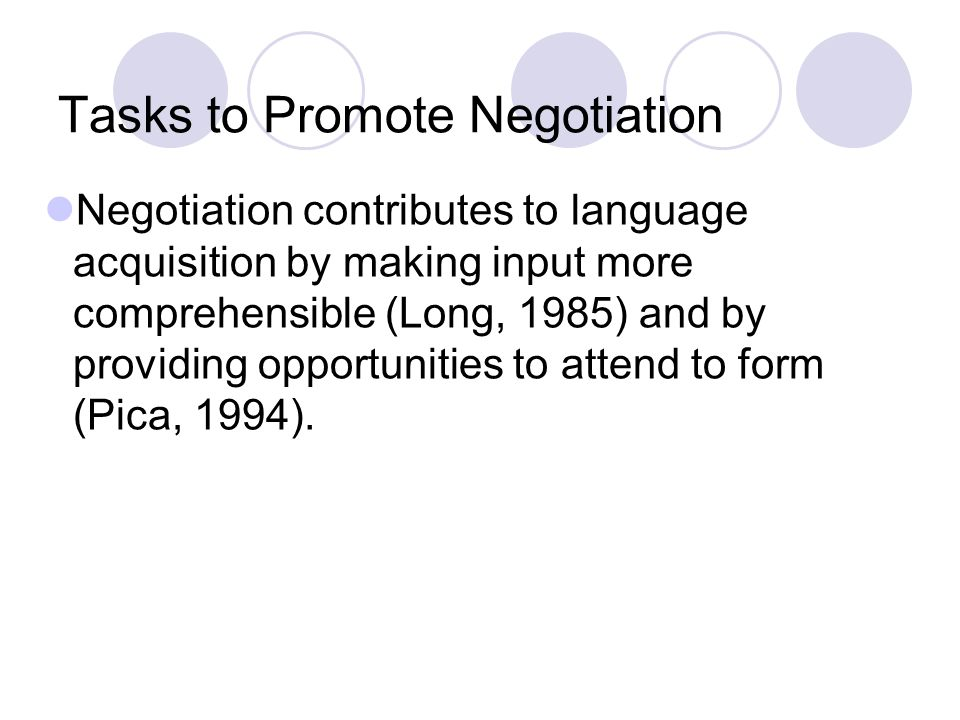 Tasks to Promote Negotiation